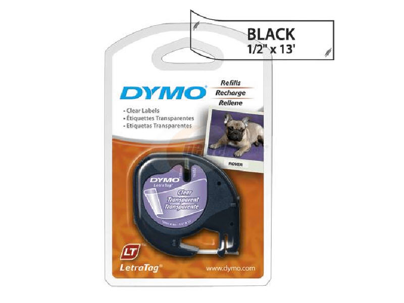 LT-100T - Dymo LetraTAG 12mm (1/2 inch) x 13ft Plastic Black on Clear