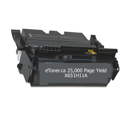 LEXMARK X651H11A <B> MICR TONER </B> REMANUFACTURED IN CANADA 25K YIELD FOR X651 X652 X654 X65