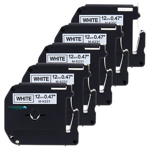 Brother M-K231 MK231 5 PACK COMBO Black on White P-Touch 12mm x 8m Label Tape Compatible